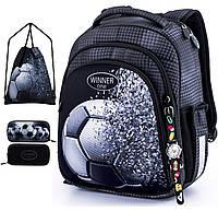 Ортопедический рюкзак (ранец) с пеналом и мешком для школы черный с синим для мальчика Winner one для первоклассника (Full-5010)