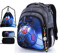 Школьный рюкзак (ранец) с ортопедической спинкой с мешком и пеналом серый для мальчика Winner one для