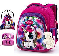 Школьный рюкзак (ранец) с ортопедической спинкой с мешком и пеналом розовый для девочки Winner one для