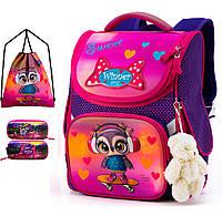Ортопедический рюкзак (ранец) с пеналом и мешком для школы розовый для девочки Winner one для начальной школы (Full-2053)