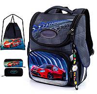 Ортопедический рюкзак (ранец) с пеналом и мешком для школы темно-серый для мальчиков Winner one для первоклассника (Full-2051