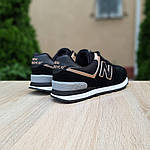 Женские кроссовки New Balance 574 (черно-золотые) 20142, фото 2
