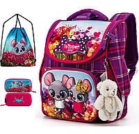 Ортопедический рюкзак (ранец) с пеналом и мешком для школы розовый для девочки  Winner one для первоклассника (Full-2041)