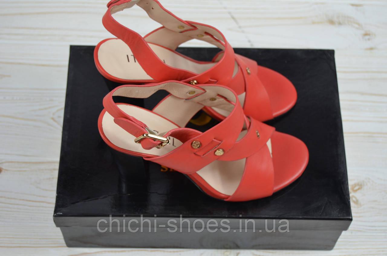 Босоножки женские It Girl 696-27-927 красные кожа каблук