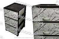 Пластиковый комод с ящиками Мрамор белый 3 яруса Elif  Турция