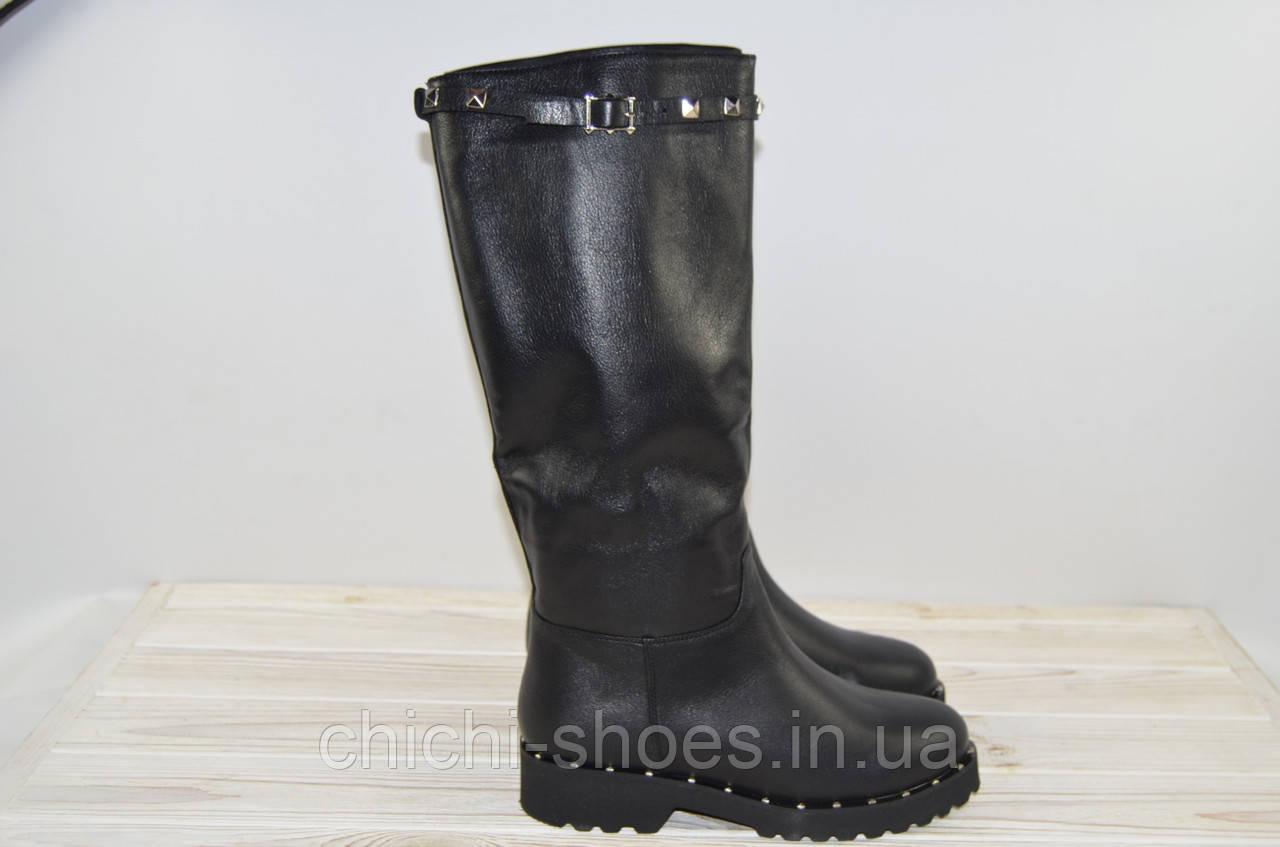Сапоги женские FAVI 266 чёрные кожа низкий ход