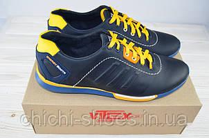 Кроссовки мужские Vitex 10306-5 чёрно-жёлтые кожа