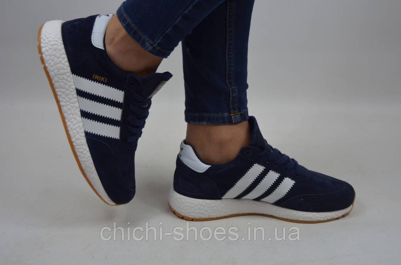 Кросівки підліткові унісекс ADIDAS INIKI 2092 (репліка) сині замша