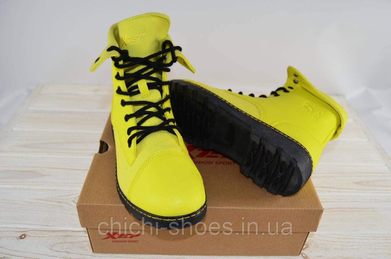 Кроссовки женские X-TEP 170162 жёлтые текстиль + кожа