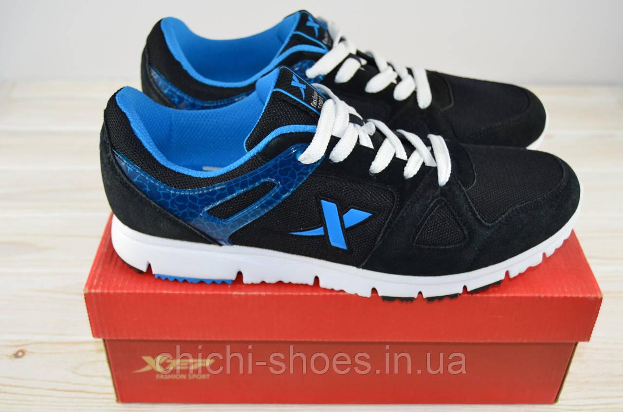 Кроссовки мужские X-TEP 20636 чёрно-синие ПВХ + текстиль
