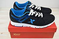 Кроссовки мужские X-TEP 20636 чёрно-синие ПВХ + текстиль, фото 1