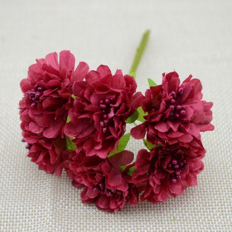 """Цветок """"Хризантема органза"""" (цена за букет из 6 шт).dz Цвет - бордовый"""