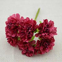 """Цветок """"Хризантема органза"""" (цена за букет из 6 шт).dz Цвет - бордовый, фото 1"""