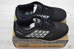 Кроссовки подростковые Bona 515Д-2 чёрные нубук