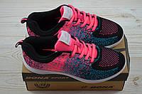 Кроссовки подростковые Bona 669P-2 чёрно-розовые текстиль, фото 1