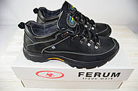 Кроссовки мужские Ferum T-12 чёрные кожа, фото 1