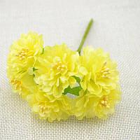 "Цветок ""Хризантема органза"" (цена за букет из 6 шт). Цвет - желтый"