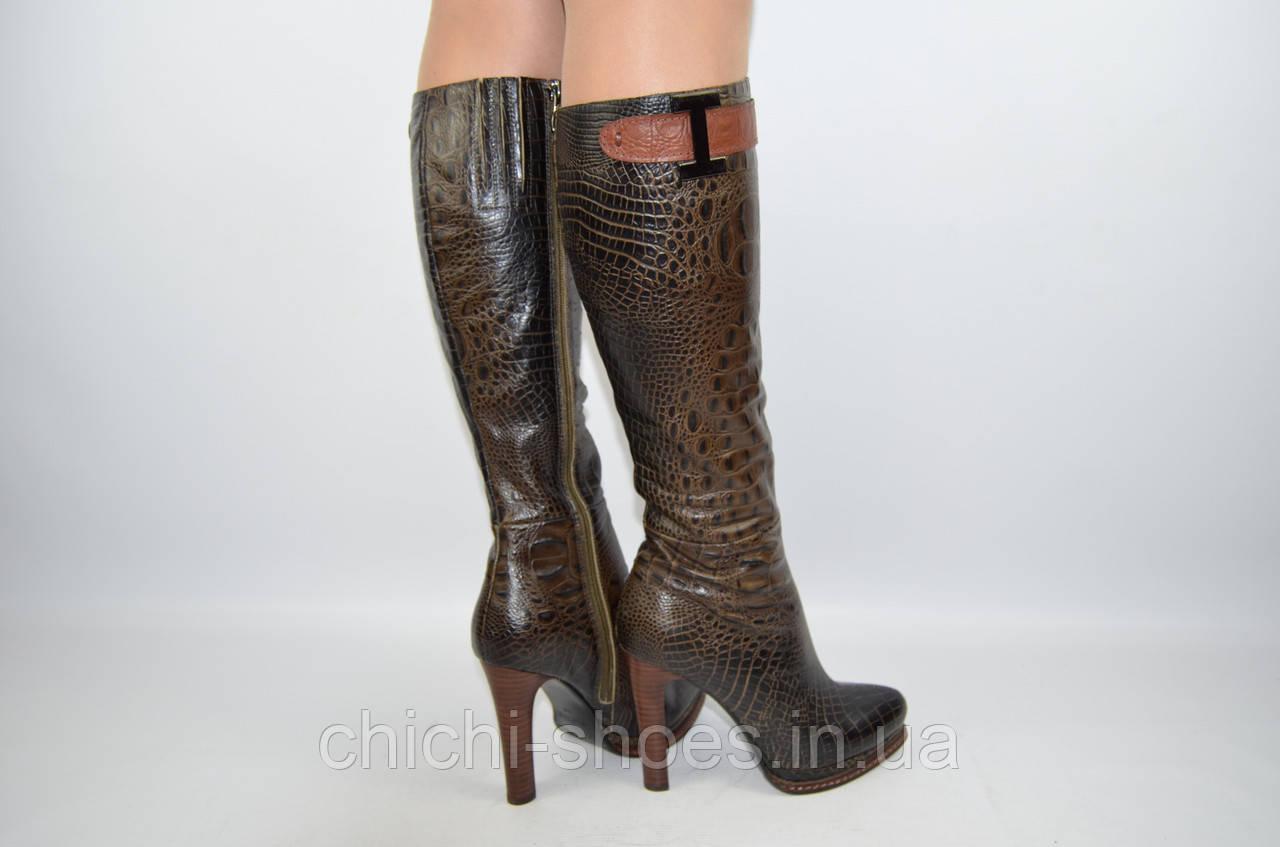 Сапоги женские демисезонные Flona 038-150 коричневые кожа каблук