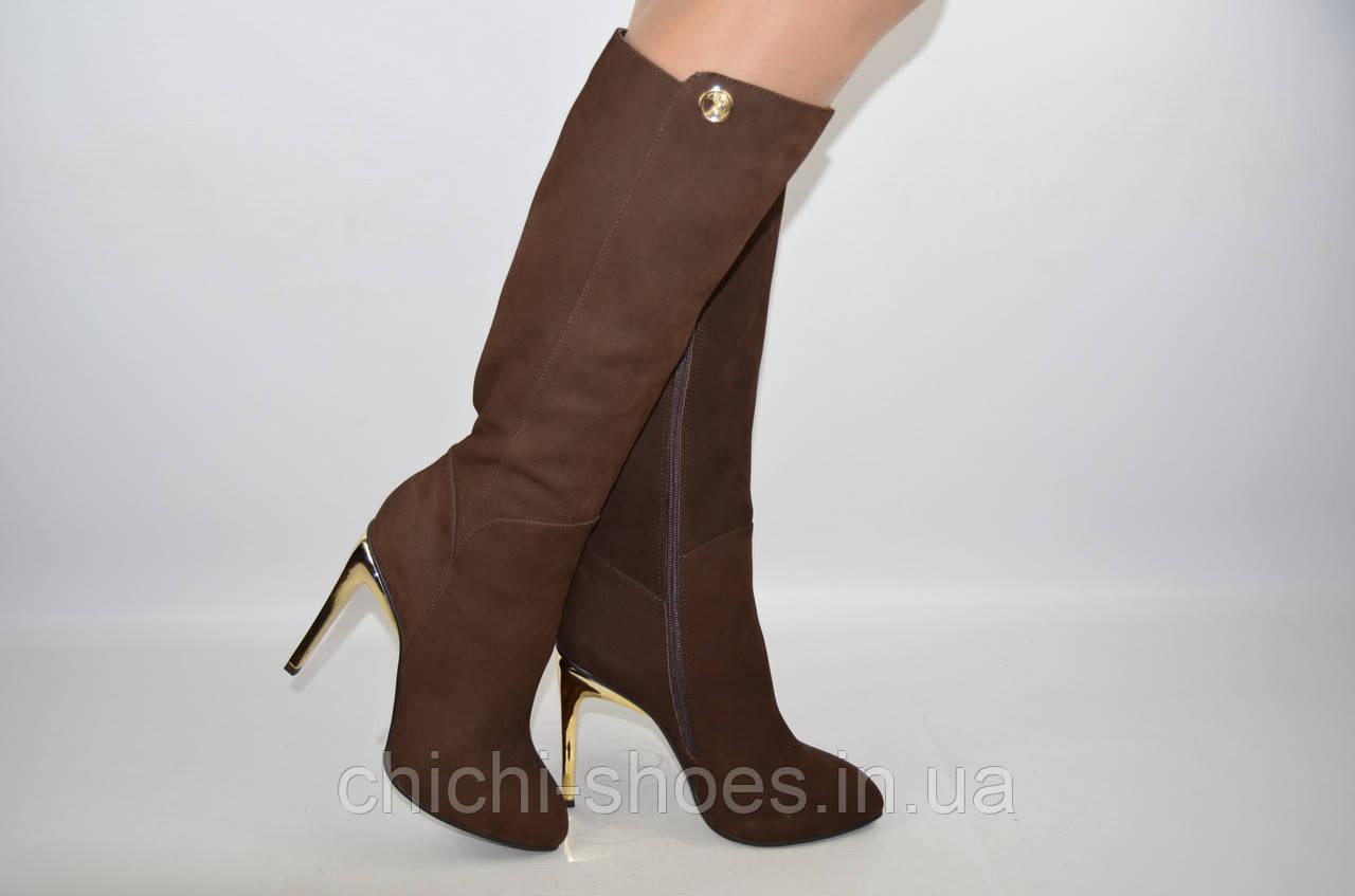 Сапоги женские демисезонные Miratti 1312-02 коричневые нубук каблук-шпилька