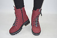 Ботинки женские зимние TEONA 19182-3 бордовые замша, фото 1