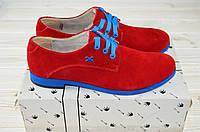 Туфли женские Artos 1017-1 красные замша низкий ход, фото 1