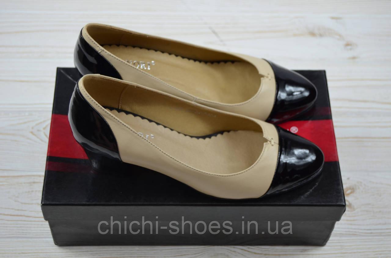 Туфли женские Magnori 239-80 бежево-чёрные кожа каблук