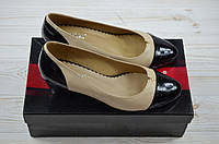 Туфли женские Magnori 239-80 бежево-чёрные кожа каблук, фото 1