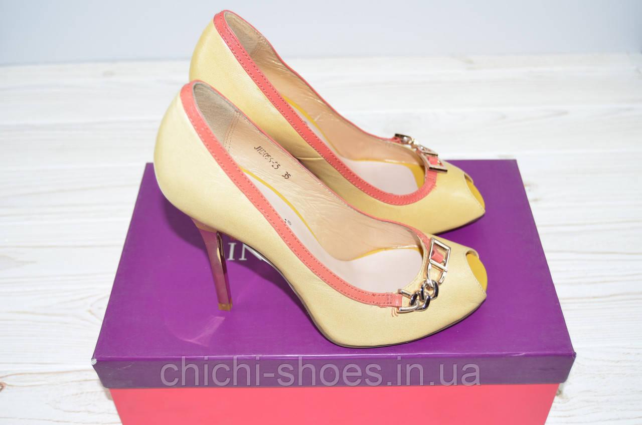 Туфли женские Blizzarini 25-348 жёлтые кожа каблук-шпилька