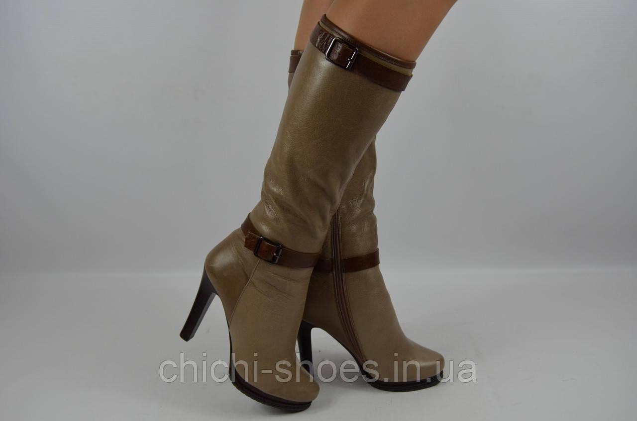 Сапоги женские зимние Flona 269 коричневые кожа каблук