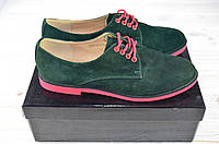 Туфли женские It Girl 3375 зелёные замша на шнурке (последний 36 размер), фото 1