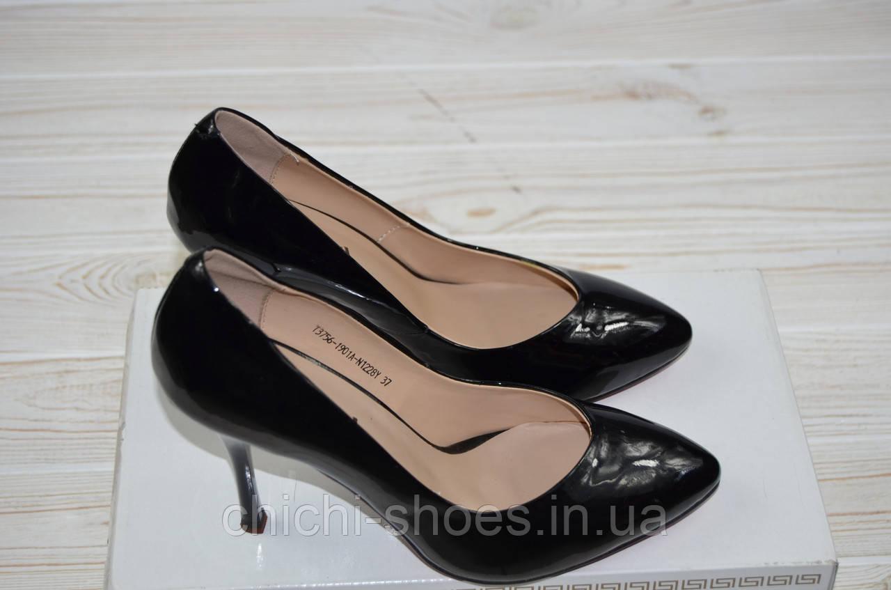 Туфли женские It Girl 3756-1901-1228 чёрные кожа-лак каблук-шпилька
