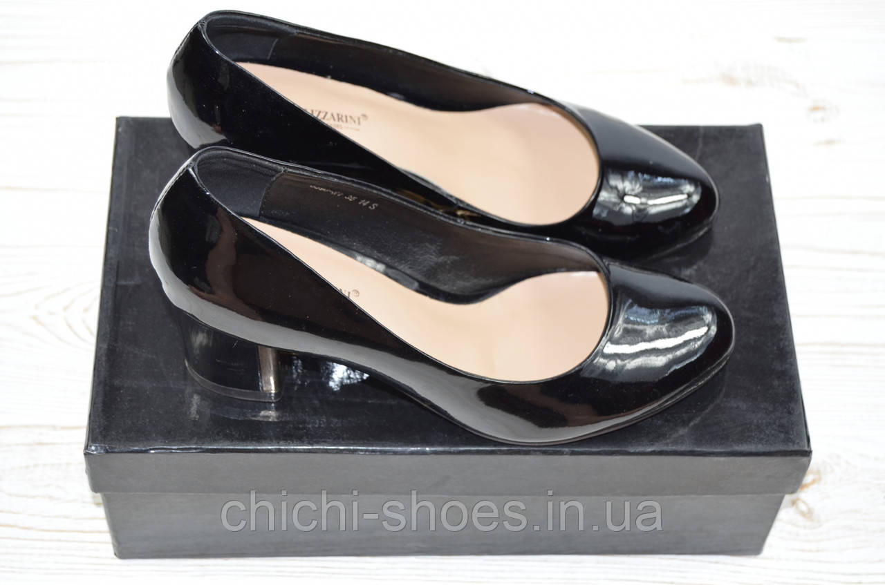 Туфли женские Blizzarini 6396-1 чёрные кожа-лак каблук