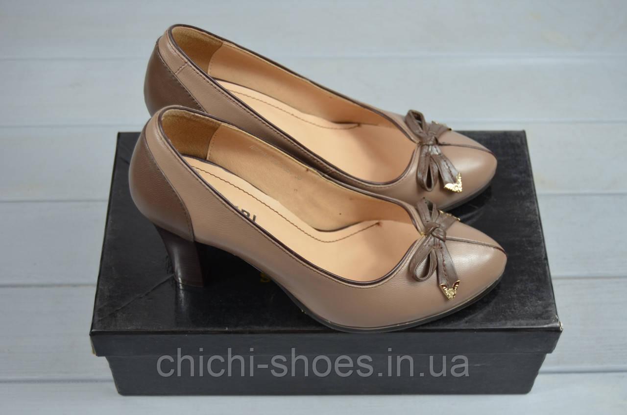 Туфли женские it Girl 7236-20 коричневые кожа каблук