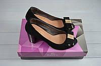 Туфли женские Foletti 8012 чёрные замша каблук с открытым носком, фото 1