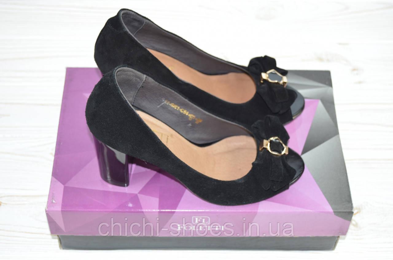 Туфли женские Foletti 85-12 чёрные замша каблук с открытым носком