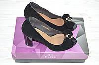 Туфли женские Foletti 85-12 чёрные замша каблук с открытым носком, фото 1