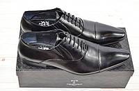 Туфли мужские Tezoro 11129 чёрные кожа-лак на шнурках (последний 44 размер), фото 1