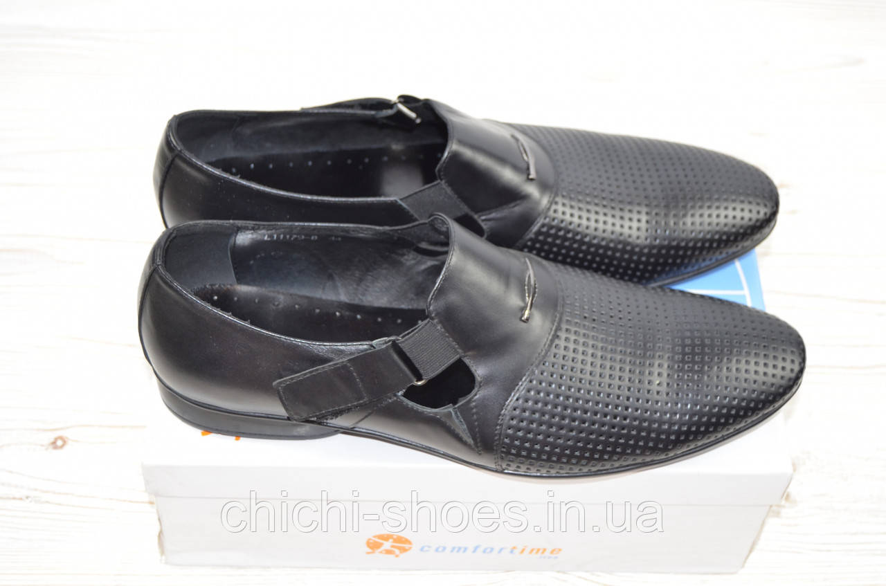 Туфли мужские Comfortime 11179 чёрные кожа на липучке (последний 43 размер)