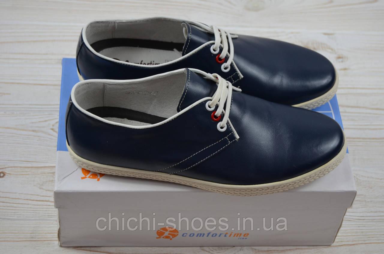 Туфли мужские Comfortime 12084 синие кожа на шнурках
