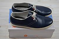 Туфли мужские Comfortime 12084 синие кожа на шнурках, фото 1