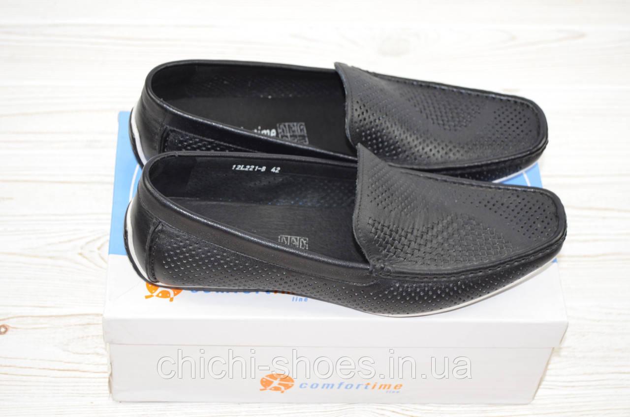 Туфли-мокасины мужские Comfortime 12221 чёрные кожа