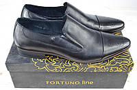 Туфли мужские Fortuno130563 чёрные кожа на резинках, фото 1