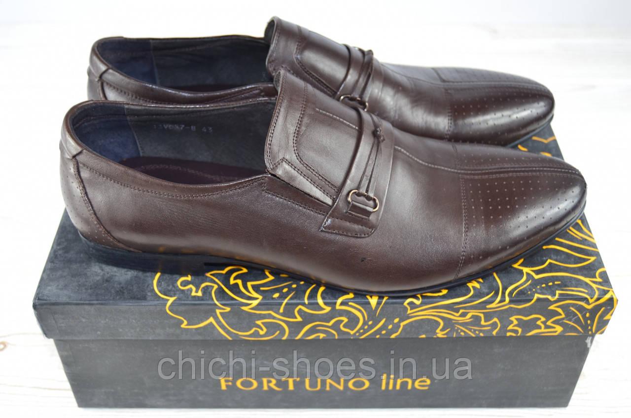 Туфли мужские Fortuno 13057 коричневые кожа на резинках