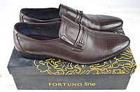 Туфли мужские Fortuno 13057 коричневые кожа на резинках, фото 1