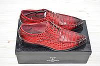 Туфли мужские Tezoro 14020 красные кожа на шнурках, фото 1