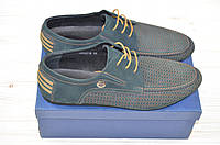 Туфли мужские EGO LINE 14037 синие нубук на шнурках, фото 1