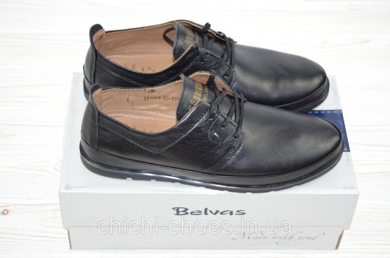 Туфли мужские Belvas 1773 чёрные кожа на шнурках