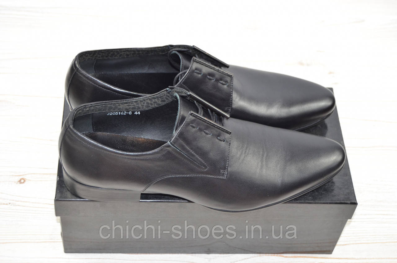 Туфли мужские Miratti 205162-8 чёрные кожа на шнурках
