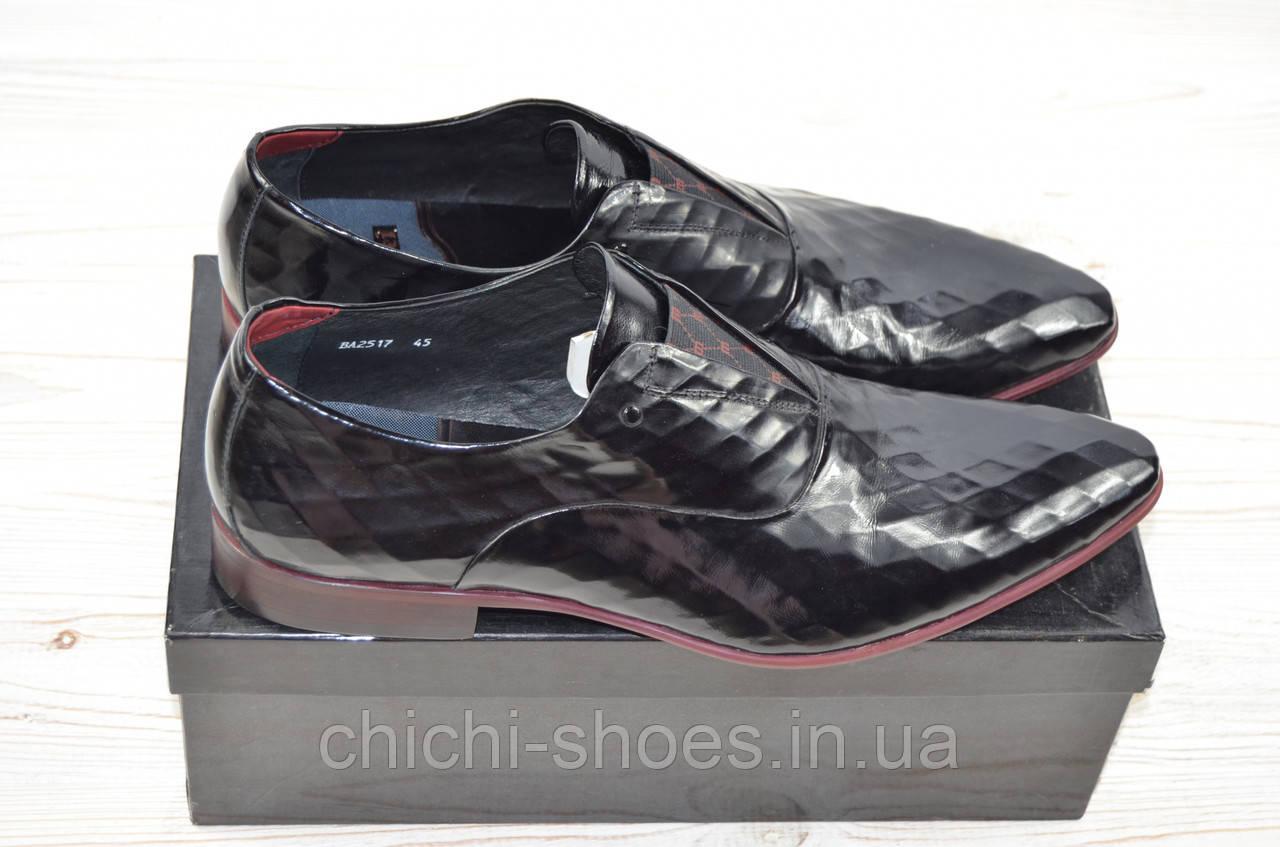 Туфли мужские Tezoro 2517 чёрные кожа-лак на резинке