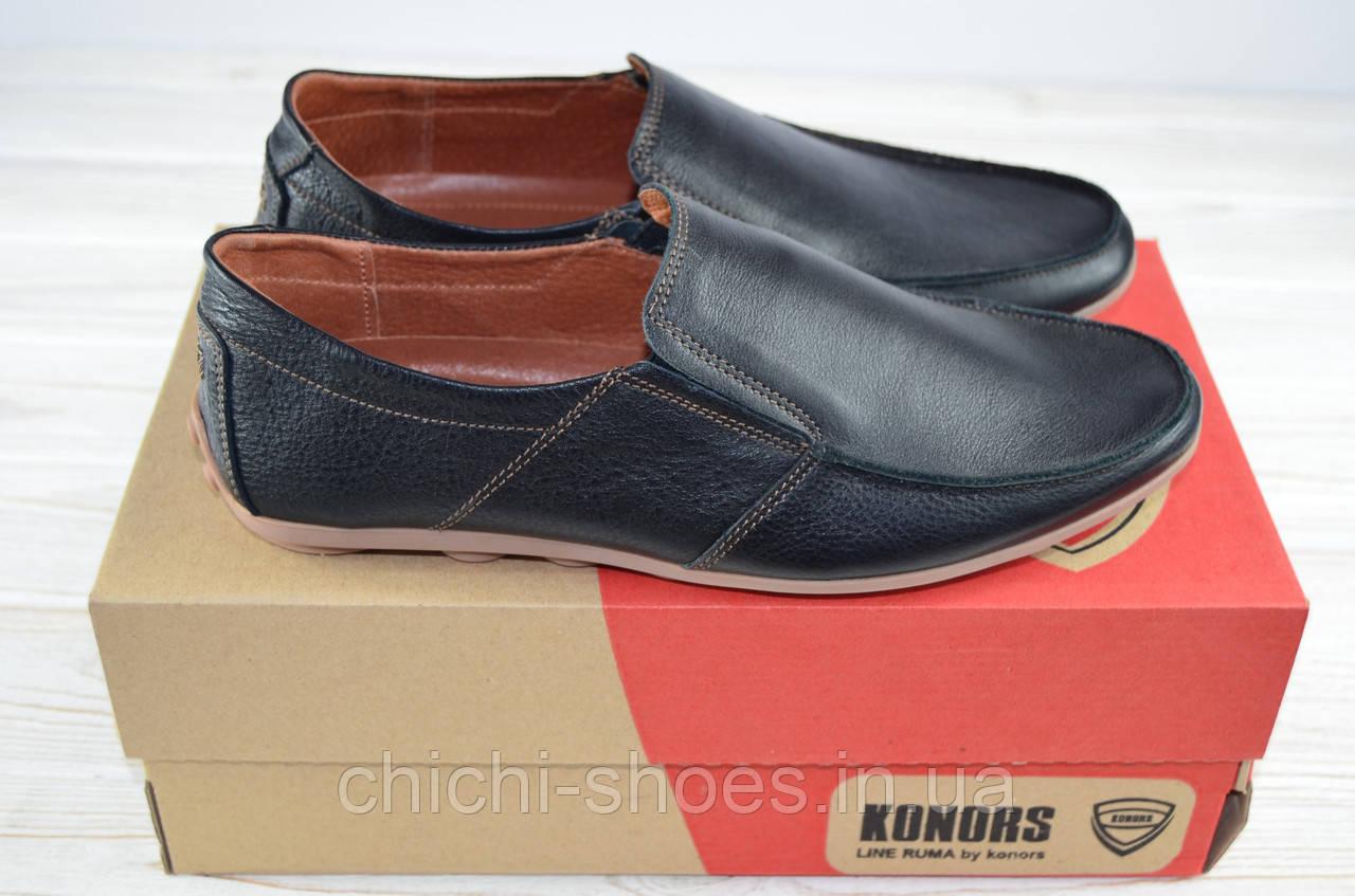 Туфли мужские Konors 459-7-19 чёрные кожа на резинках